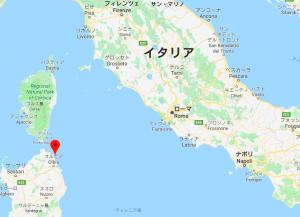 サルディニア〜ローマの位置関係